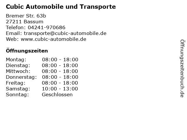 Cubic Automobile und Transporte in Bassum: Adresse und Öffnungszeiten