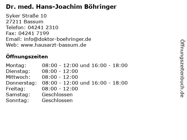 Dr. med. Hans-Joachim Böhringer in Bassum: Adresse und Öffnungszeiten