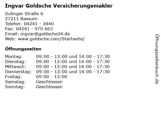 Ingvar Goldsche Versicherungsmakler in Bassum: Adresse und Öffnungszeiten
