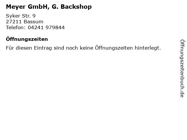 Meyer GmbH, G. Backshop in Bassum: Adresse und Öffnungszeiten