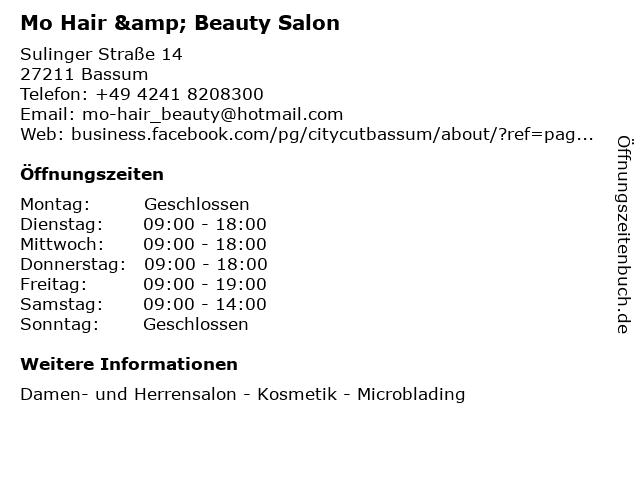 Mo Hair & Beauty Salon in Bassum: Adresse und Öffnungszeiten