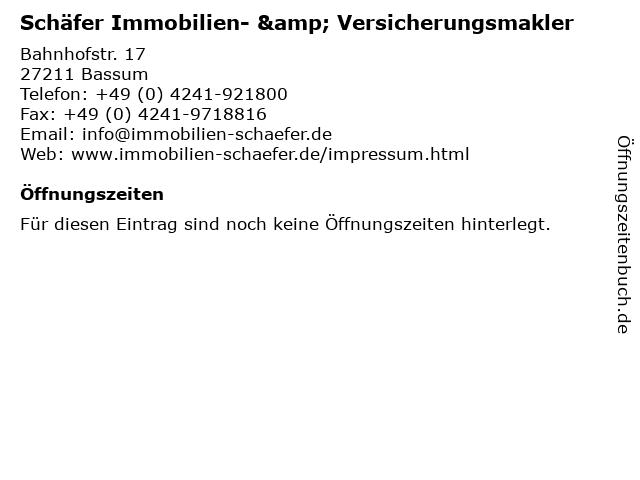 Schäfer Immobilien- & Versicherungsmakler in Bassum: Adresse und Öffnungszeiten