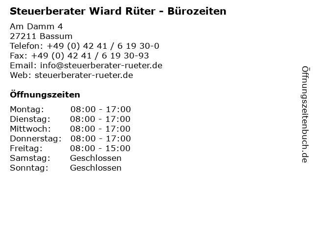 Steuerberater Wiard Rüter - Bürozeiten in Bassum: Adresse und Öffnungszeiten