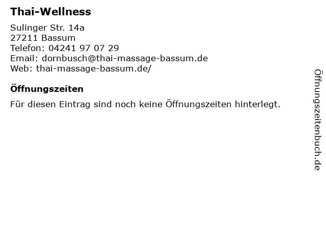 Thai-Wellness in Bassum: Adresse und Öffnungszeiten