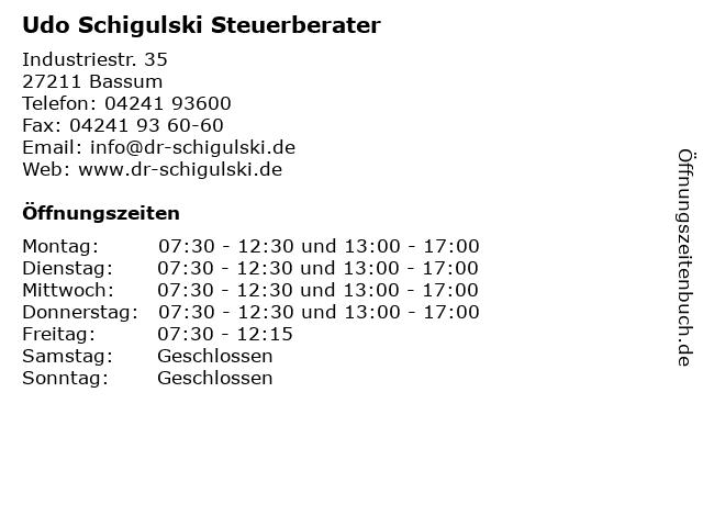 Udo Schigulski Steuerberater in Bassum: Adresse und Öffnungszeiten