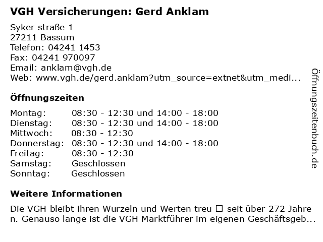 VGH Versicherungen: Gerd Anklam in Bassum: Adresse und Öffnungszeiten