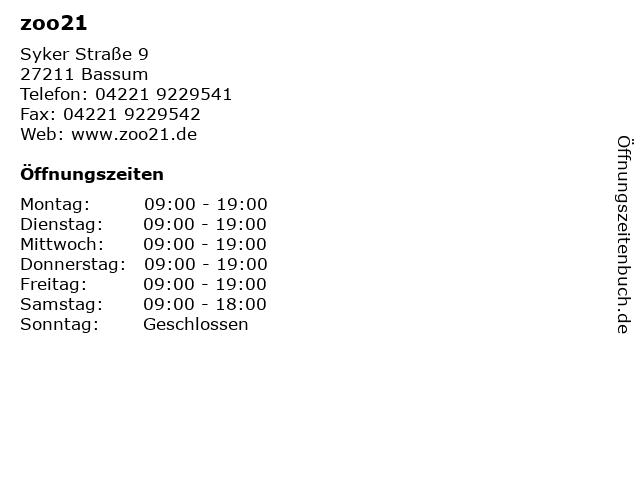 zoo21 in Bassum: Adresse und Öffnungszeiten