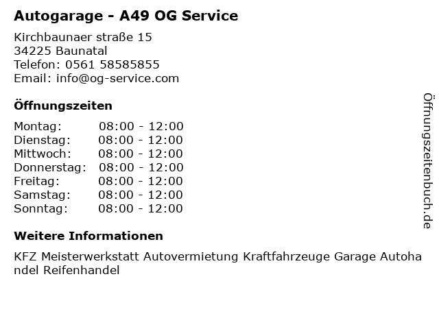Autogarage - A49 OG Service in Baunatal: Adresse und Öffnungszeiten
