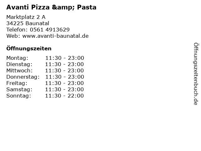 Avanti Pizza & Pasta in Baunatal: Adresse und Öffnungszeiten