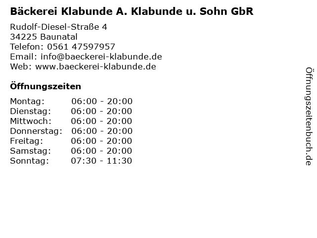 Bäckerei Klabunde A. Klabunde u. Sohn GbR in Baunatal: Adresse und Öffnungszeiten
