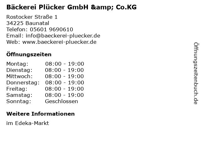 Bäckerei Plücker GmbH & Co.KG in Baunatal: Adresse und Öffnungszeiten