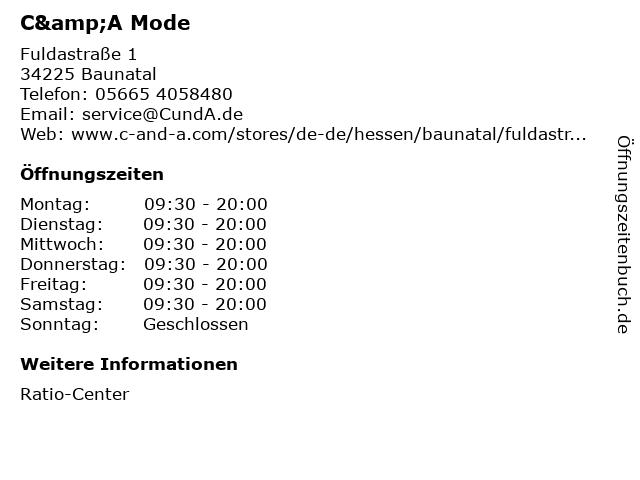 C&A Mode GmbH & Co. KG (Small Family) in Baunatal: Adresse und Öffnungszeiten