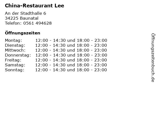 China-Restaurant Lee in Baunatal: Adresse und Öffnungszeiten