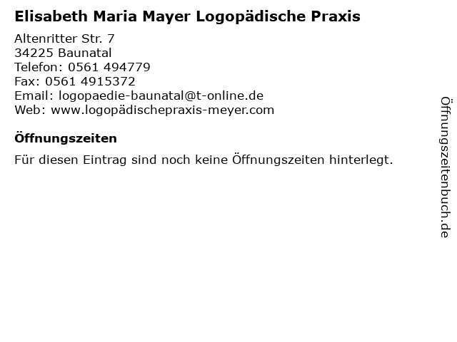 Elisabeth Maria Mayer Logopädische Praxis in Baunatal: Adresse und Öffnungszeiten