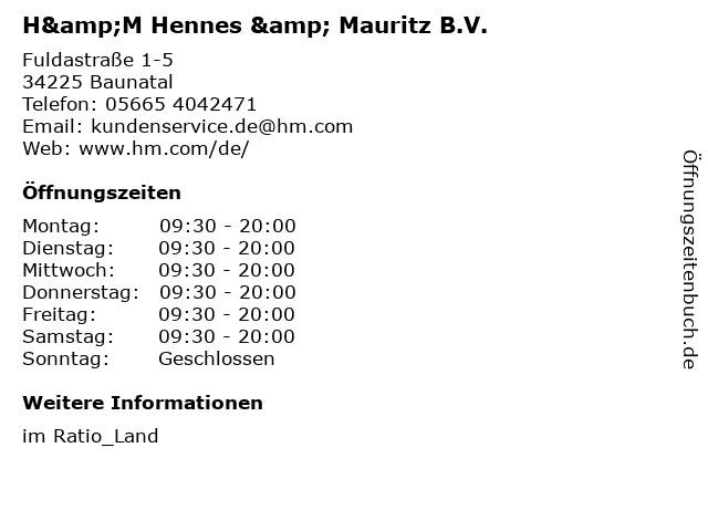 H&M Hennes & Mauritz B.V. in Baunatal: Adresse und Öffnungszeiten