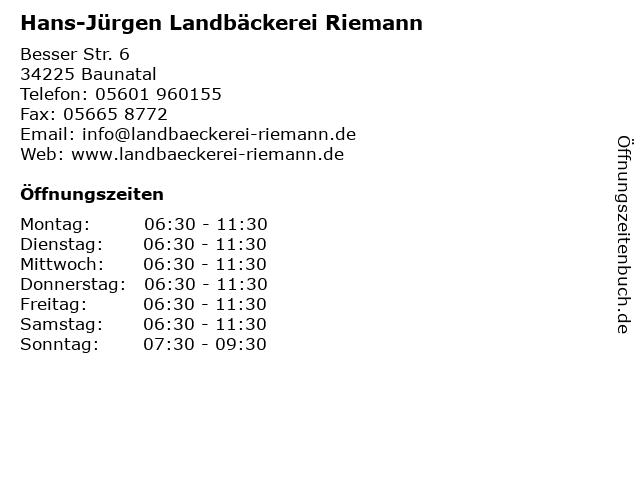 Hans-Jürgen Landbäckerei Riemann in Baunatal: Adresse und Öffnungszeiten