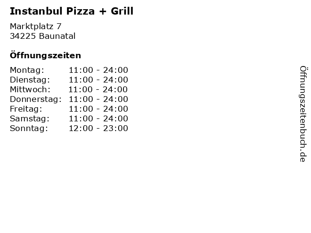 Instanbul Pizza + Grill in Baunatal: Adresse und Öffnungszeiten