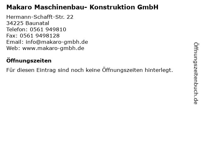 Makaro Maschinenbau- Konstruktion GmbH in Baunatal: Adresse und Öffnungszeiten