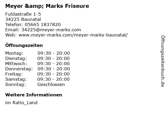 Meyer & Marks Friseure in Baunatal: Adresse und Öffnungszeiten