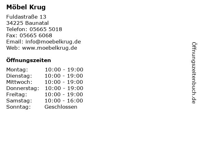 ᐅ Offnungszeiten Mobel Krug Fuldastrasse 13 In Baunatal