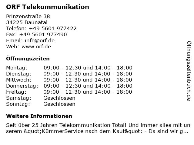 ORF Telekommunikation in Baunatal: Adresse und Öffnungszeiten