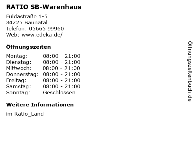 RATIO SB-Warenhaus in Baunatal: Adresse und Öffnungszeiten