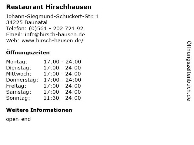 Restaurant Hirschhausen in Baunatal: Adresse und Öffnungszeiten