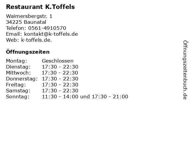Restaurant K.Toffels in Baunatal: Adresse und Öffnungszeiten