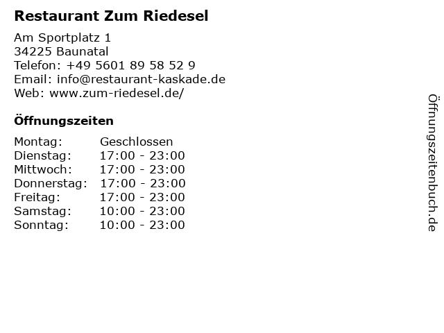 Restaurant Zum Riedesel in Baunatal: Adresse und Öffnungszeiten