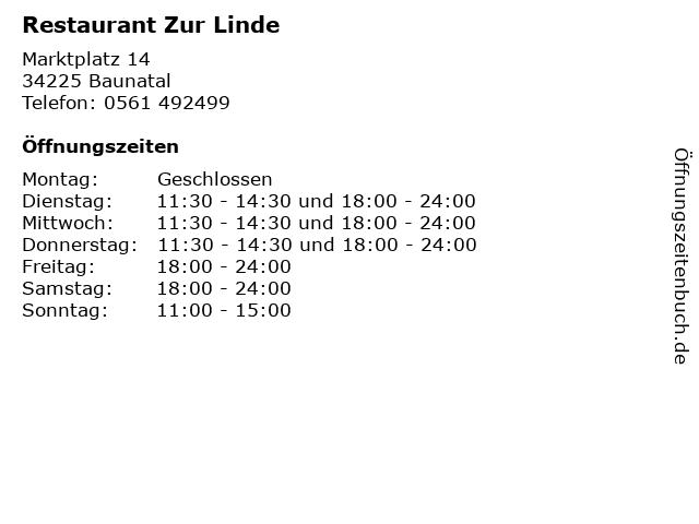 Restaurant Zur Linde in Baunatal: Adresse und Öffnungszeiten