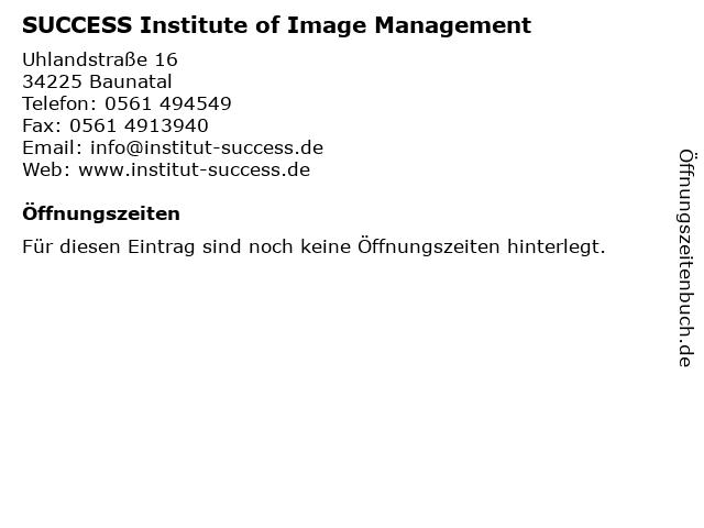 SUCCESS Institute of Image Management in Baunatal: Adresse und Öffnungszeiten