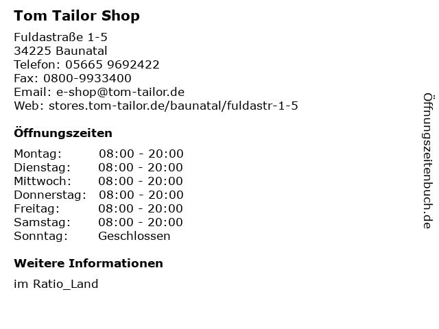 Tom Tailor Shop in Baunatal: Adresse und Öffnungszeiten