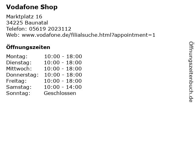 Vodafone Shop in Baunatal: Adresse und Öffnungszeiten