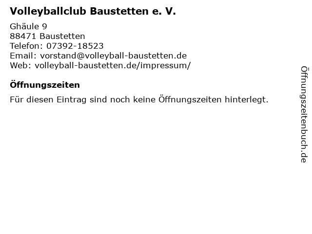Volleyballclub Baustetten e. V. in Baustetten: Adresse und Öffnungszeiten