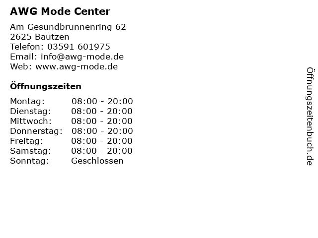 AWG Mode Center in Bautzen: Adresse und Öffnungszeiten