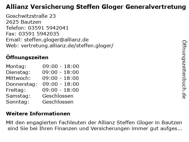 Allianz Versicherung Generalvertretung Steffen Gloger in Bautzen: Adresse und Öffnungszeiten