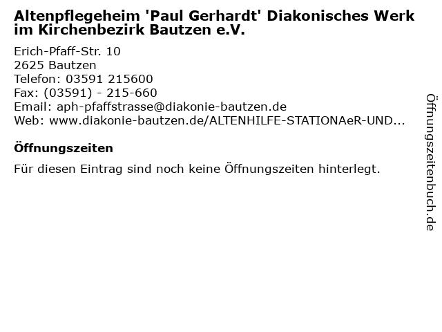 Altenpflegeheim 'Paul Gerhardt' Diakonisches Werk im Kirchenbezirk Bautzen e.V. in Bautzen: Adresse und Öffnungszeiten