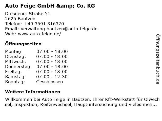 Auto Feige GmbH & Co. KG in Bautzen: Adresse und Öffnungszeiten