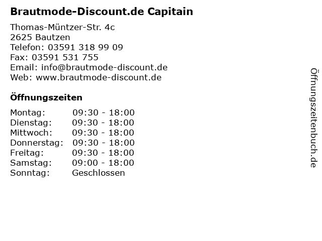 ᐅ Offnungszeiten Brautmode Discount De Capitain Thomas Muntzer