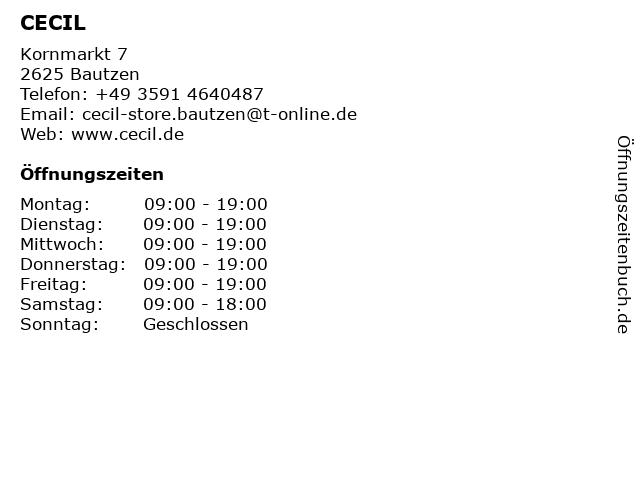 CECIL Partner Store Bautzen in Bautzen: Adresse und Öffnungszeiten
