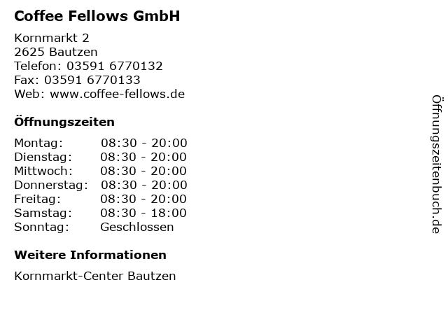 Coffee Fellows GmbH in Bautzen: Adresse und Öffnungszeiten
