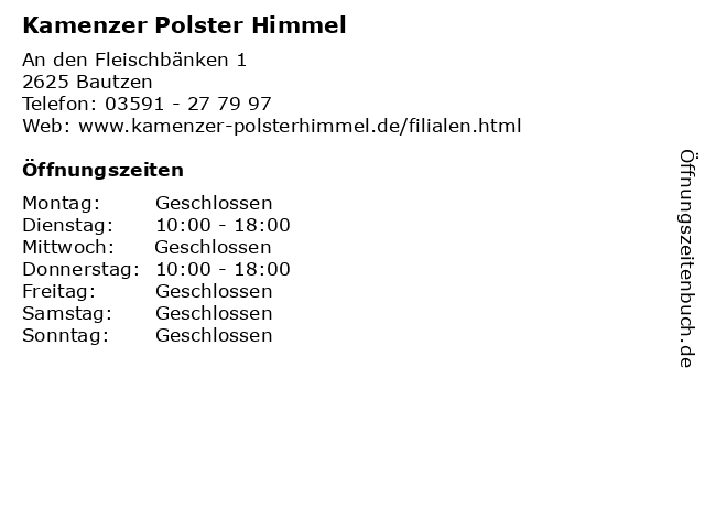 Kamenzer Polster Himmel in Bautzen: Adresse und Öffnungszeiten