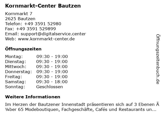 Kornmarkt-Center Bautzen in Bautzen: Adresse und Öffnungszeiten