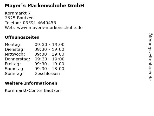 Mayer's Markenschuhe GmbH in Bautzen: Adresse und Öffnungszeiten