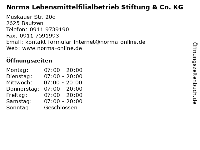 Norma Lebensmittelfilialbetrieb Stiftung & Co. KG in Bautzen: Adresse und Öffnungszeiten
