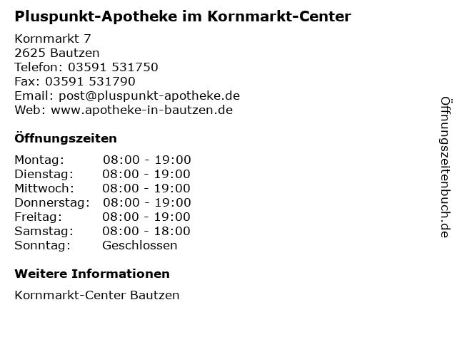 Pluspunkt-Apotheke im Kornmarkt-Center in Bautzen: Adresse und Öffnungszeiten
