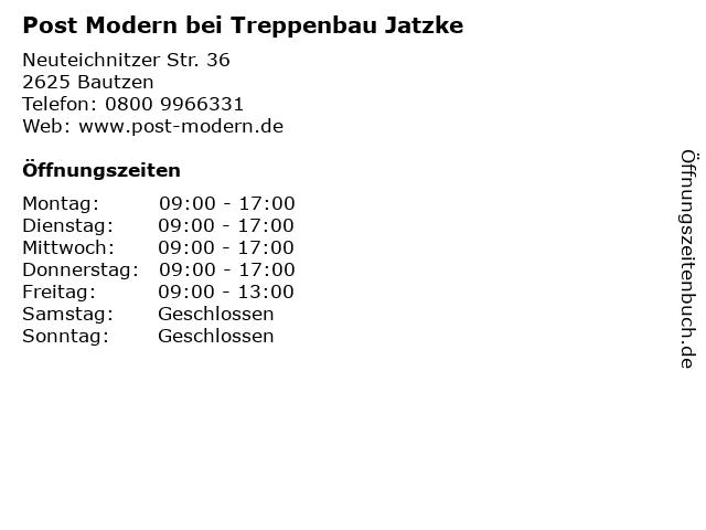 "Treppenbau Jatzke ᐅ Öffnungszeiten ""post modern bei treppenbau jatzke"