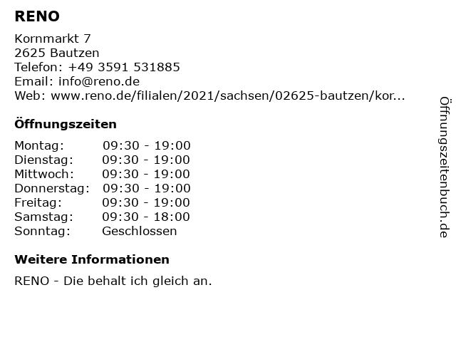 Reno Schuh GmbH - Filiale Bautzen in Bautzen: Adresse und Öffnungszeiten