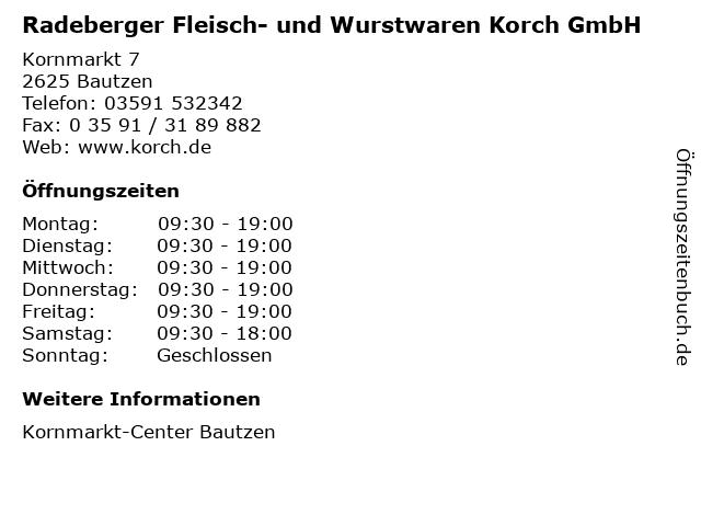 Radeberger Fleisch- und Wurstwaren Korch GmbH in Bautzen: Adresse und Öffnungszeiten