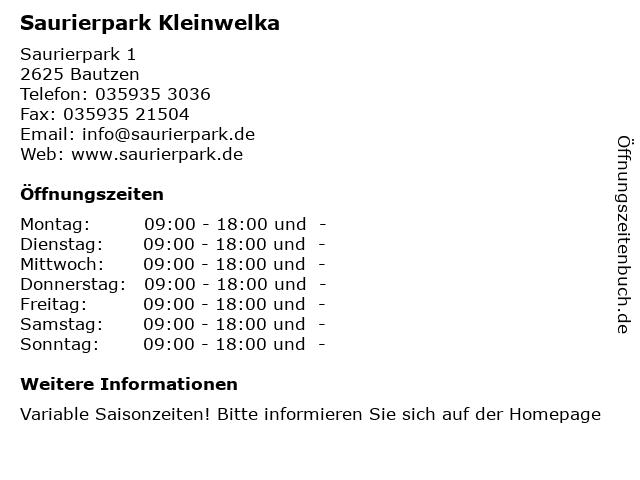 Saurierpark Kleinwelka in Bautzen: Adresse und Öffnungszeiten